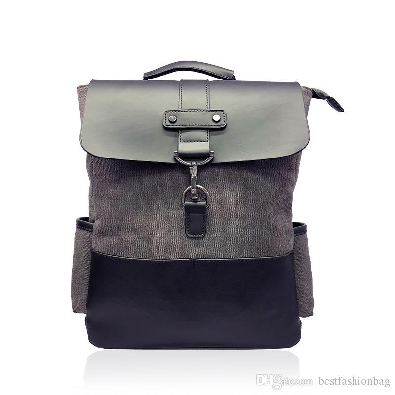 536a250a87d Fashion Backpacks 2019 High Quality Canvas   Leather Backpack Men School Shoulder  Bags Mochila Man Casual Grey Travel Daypacks Designer Backpacks College ...