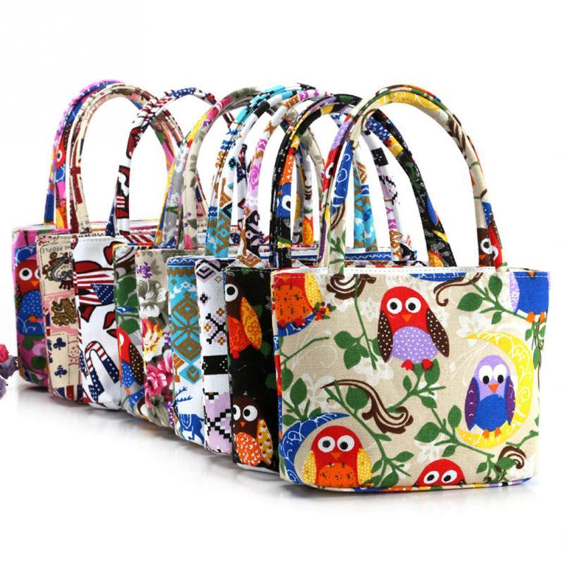 Large Capacity Cartoon Owl Print Casual Tote Lady Canvas Beach Bag Female Handbag Daily Use Women Shoulder Shopping Bags
