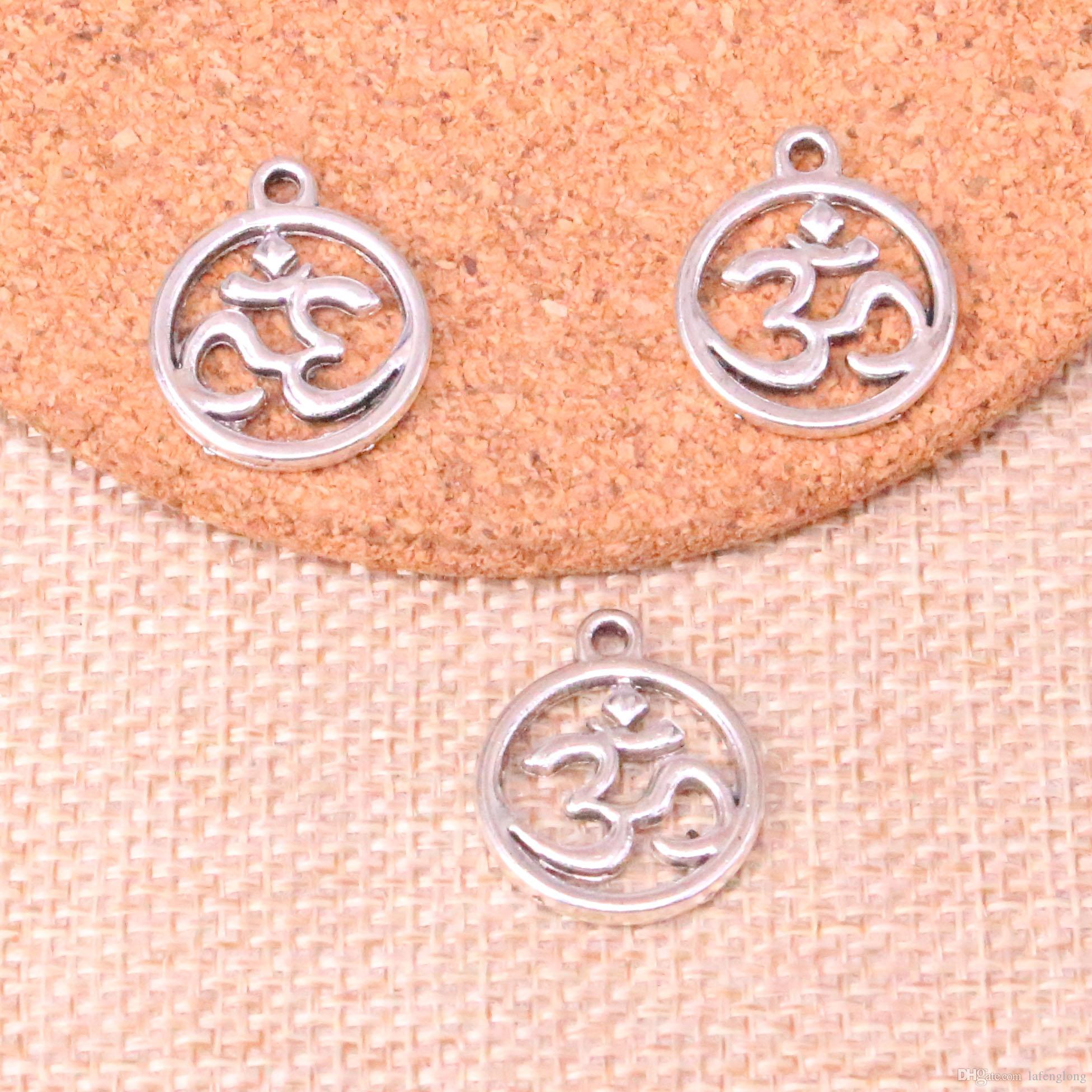 63pcs Antique Silver Plated circle yoga om Charms Pendants fit Making Bracelet Necklace Jewelry Findings Jewelry Diy Craft 18*20mm