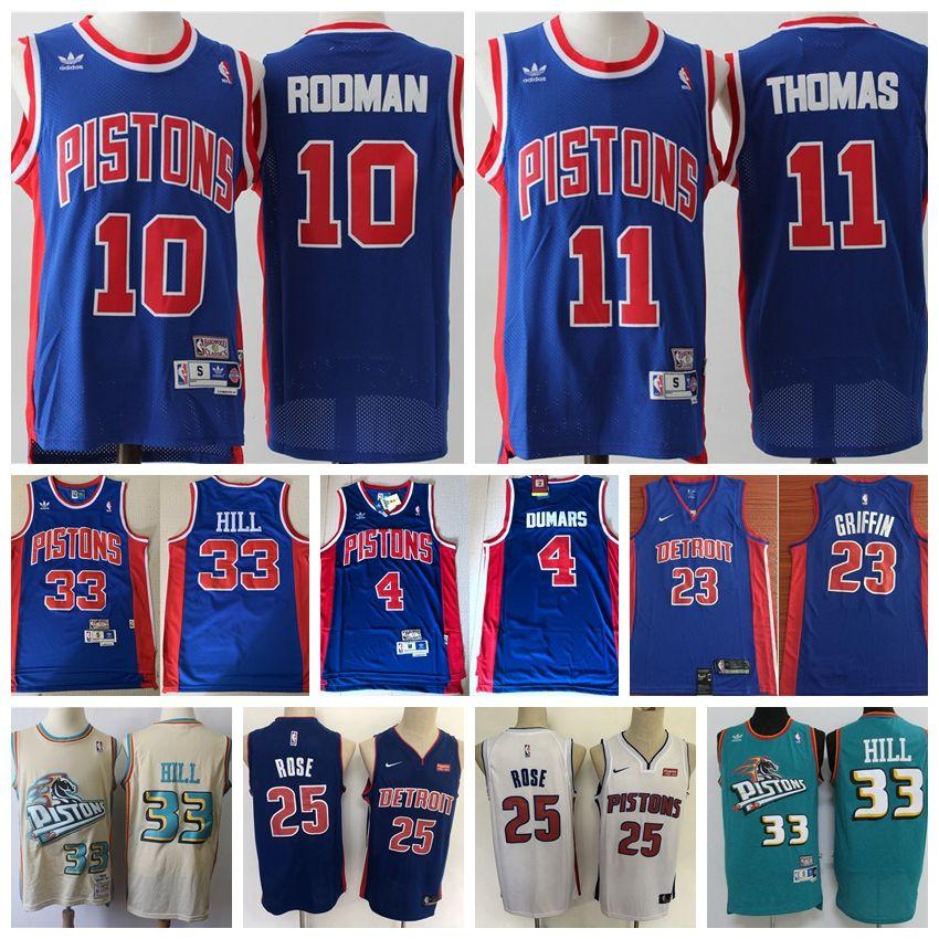 sale retailer 1f06b b676f 2020 Men Retro Pistons Swingman Jersey 4 Joe Dumars 33 Grant Hill 10 Dennis  Rodman 11 Isiah Thomas 25# Derrick Rose 23# Blake Griffin Jersey