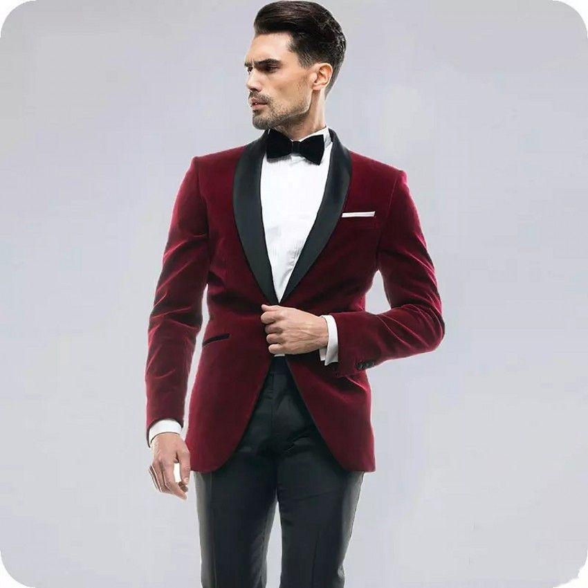 Velvet Groom Tuxedos Burgundy Men Wedding Tuxedos Black