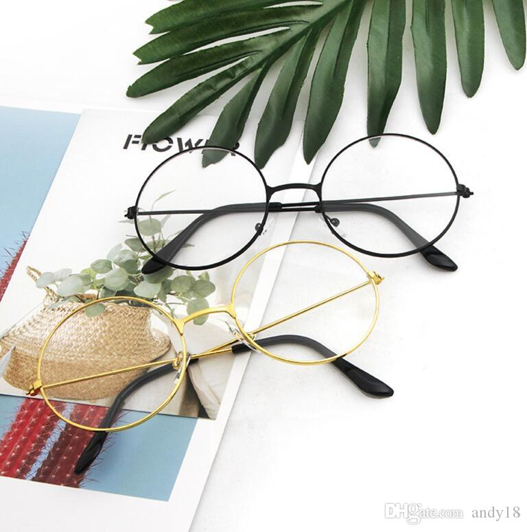 6f001431cefe Harajuku Glasses Frame Men And Women Tide Models Ultra Light Decorative  Frame Round Retro Metal Flat Glasses Prince Mirror Glass 2019 Spitfire  Sunglasses ...