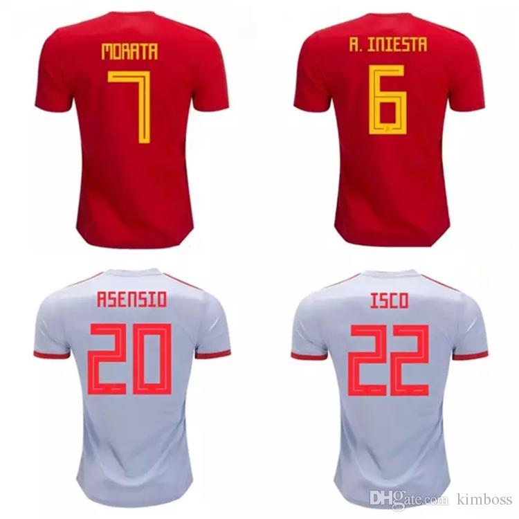 c6ce6aac47c Spain Soccer Jersey Shirts 2019 Home Away ISCO MORATA ASENSIOMaillot Jersey  HighThailand Quality Kid Sets Sport Wears Express Ship DHL Make T Shirts  Online ...
