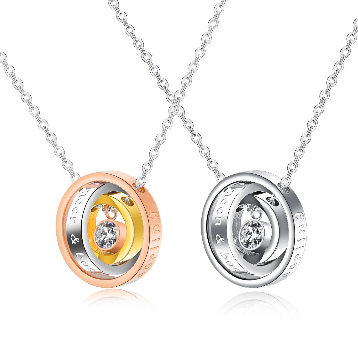 b20ae8887 Wholesale I Love You Darling His/Hers Promise Love Pendant Stainless Steel  Halo Ring Necklace K3748 Silver Necklaces Diamond Necklaces From Sherity,  ...