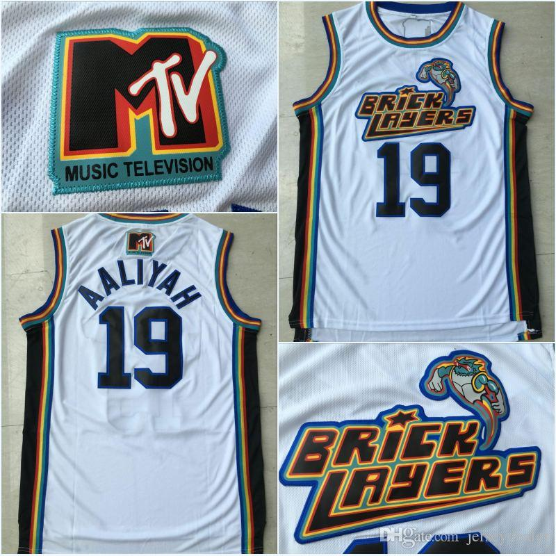 0aeaa57b594 Mens Aaliyah Bricklayers #19 1996 MTV Rock N Jock Jersey SIXTH ANNUAL  B-BALL JAM 96' High Quanlity Polyester Double Stiched Basketball