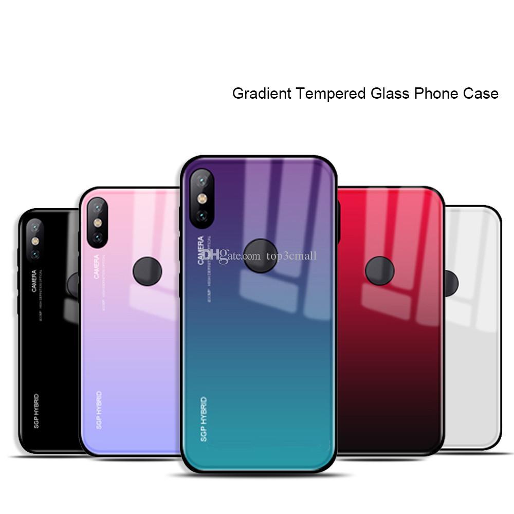 quality design 0e16a 2cad8 Gradient Tempered Glass phone case For xiaomi mi a1 a2 mix 2 s 6 8 se mi6  mia1 mia2 Lite Cover shell Pocophone f1 f 1 Coque Capa