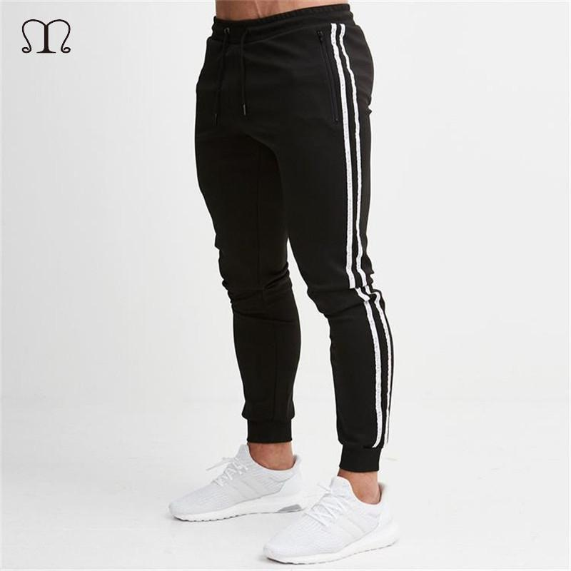 2019 Slim Fit Pant Men Muscle Fitness Trousers Running Bodybuilding Pants Male Straight Stretch Skinny Joggers Sweatpant Mens