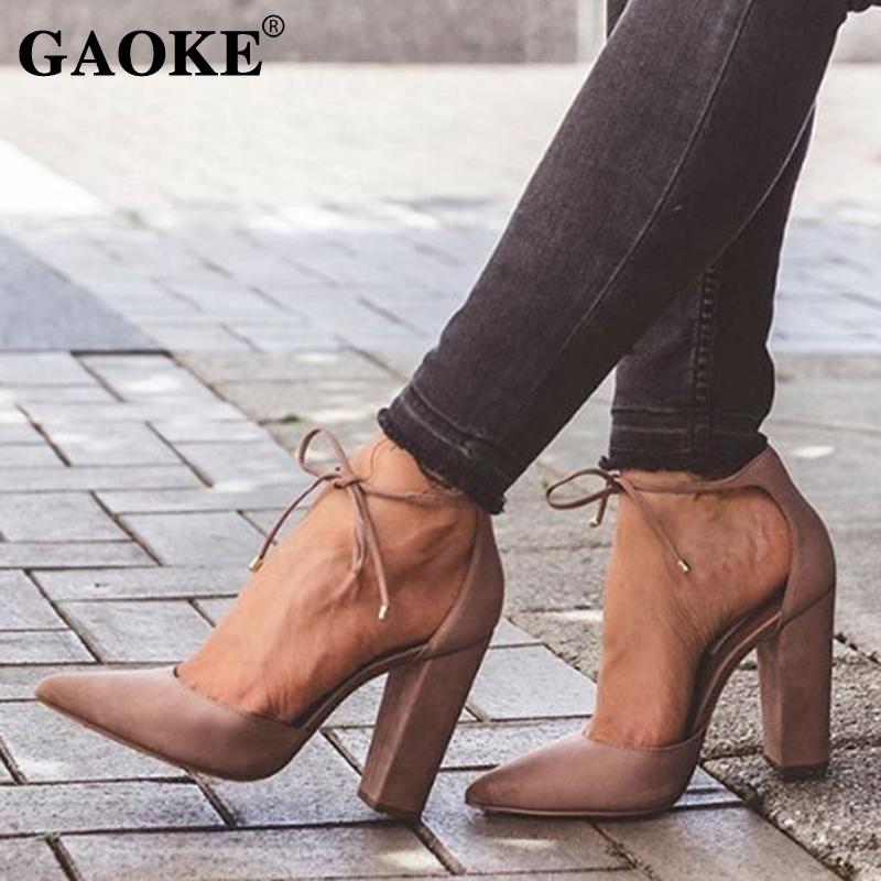 a0be6c32fb Dress Shoes Pointed Strappy Pumps Sexy Retro High Thick Heels 2019 New  Woman Female Lace Up Loafers For Men Red Shoes From Deals6, $30.16|  DHgate.Com