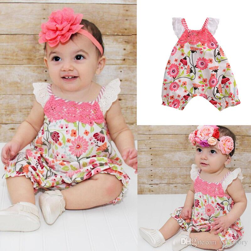 0dd614c907083 2019 Summer Baby Girl Lace Flower Pink Jumpsuit Flying Sleevele Floral  Romper Onesies Baby Outfit Bodysuit Sunsuit Kid Clothing set 0-24M