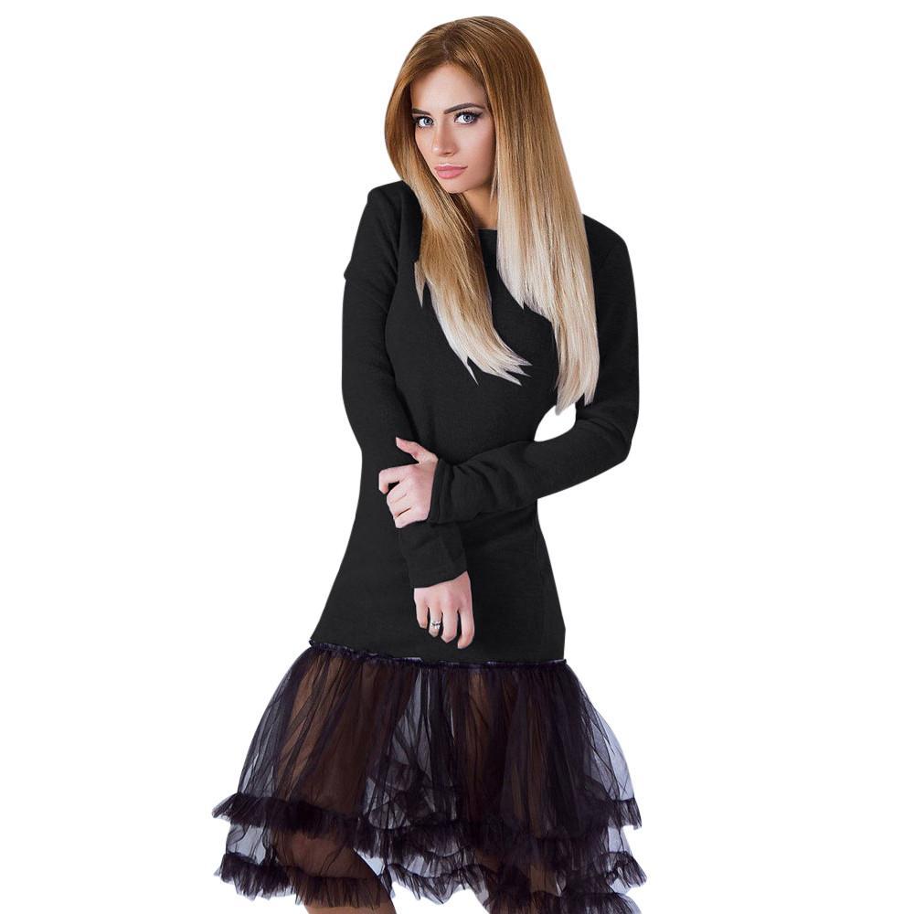 Party Damen Vestidos Dress Frauen Stricken Fiesta De Langarm Spitzen Langes Faashion Abend Shirt Vintage Kleid RjL34qc5A