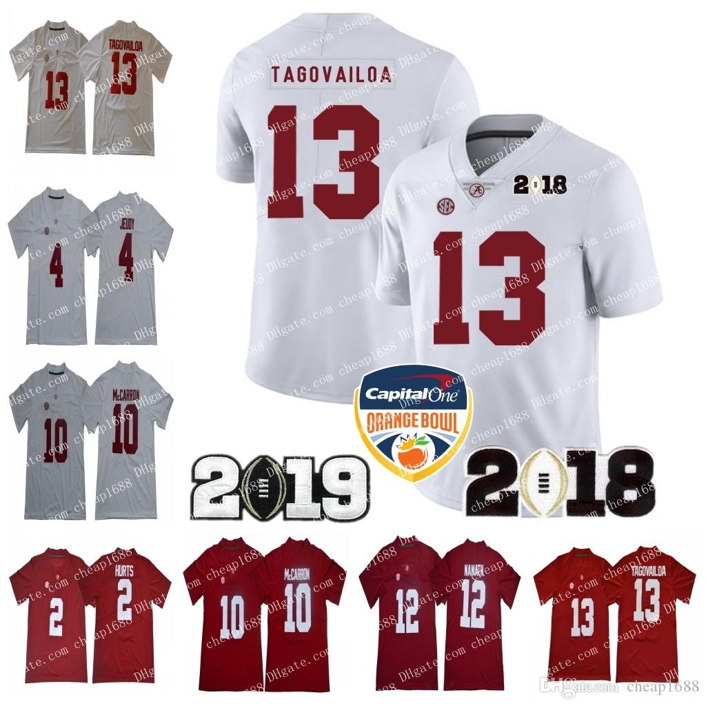 huge selection of 383ab 5e807 2019 Alabama Crimson Tide 13 Tua Tagovailoa Orange Bowl 2 Jalen Hurts 4  Jerry Jeudy 10 AJ McCarron 12 Joe Namath Championship Jersey