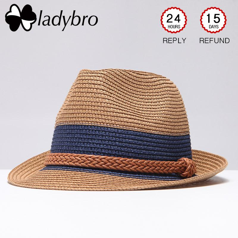 5aeb7623667 Wholesale Summer Jazz Women Straw Hat Beach Men Sun Hat Casual Panama Male  Cap Hemp Rope Patchwork Striped Straw Hat Visor Cap Fishing Hats Funny Hats  From ...