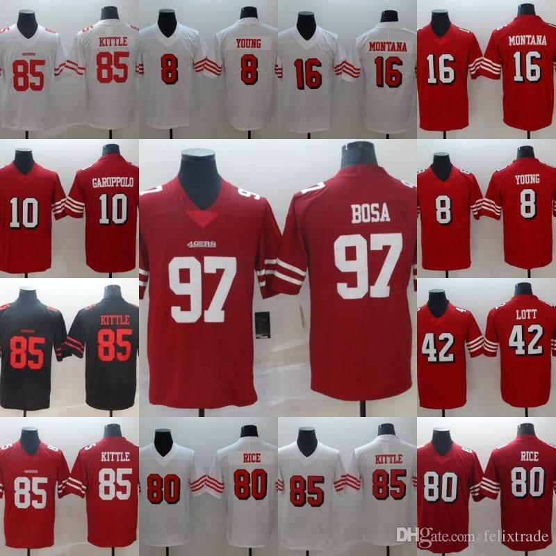 super popular c818a 9ce1a San Francisco Nick Bosa 49ers George Kittle Jimmy Garoppolo Jerry Rice  Steve Young Ronnie Lott Joe Montana Football Jerseys