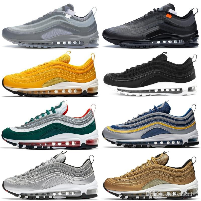 5a304cd9d483 2019 New 97 Men Running Shoes 97 OG Triple Black White Yellow Metallic Gold  Silver Designer Shoes Persian Violet Men Women Sport Sneakers From  Casualv2