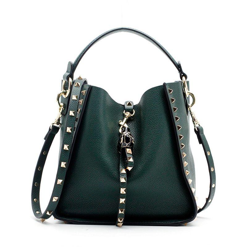 a1e23780e011 Brand 2019 Winter New Women Genuine Cow Leather Purse And Handbag Female  Tote Designer Crossbody Bags Rivet Shoulder Bag 890 Cheap Bags Cute Purses  From ...