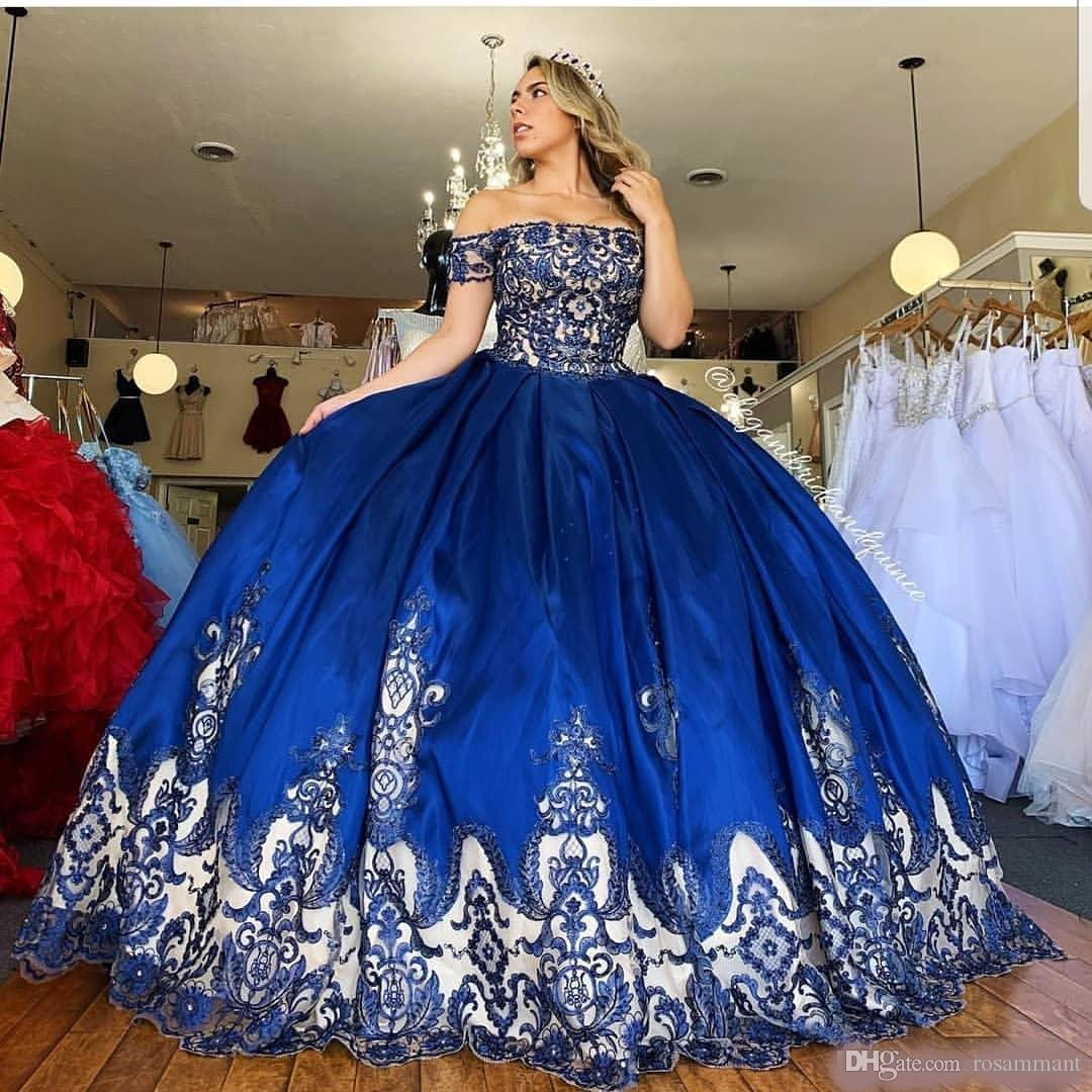 Royal Blue Lace Beaded Quinceanera Prom dresses Sexy Strapless Satin Ball Gown Evening Party Sweet 16 Dress