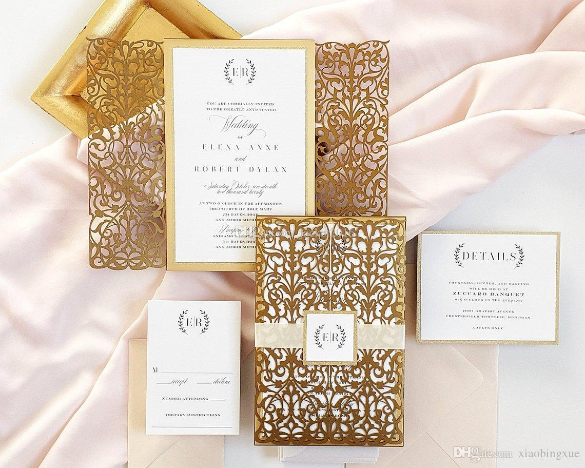 Wedding Invitation Packages.Gold Wedding Invitation Royal Glitter Bottom Wedding Invites 2019 Elegant Laser Cut Wedding Invite With Ribbon Belt And Tag