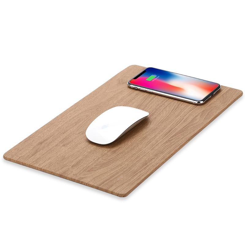 Mobile Phone Charger Qi Wireless Charging Leather Mouse Pad Mat PU Mousepad per IPhone X / 8 Inoltre Samsung S8 Plus / Nota 8