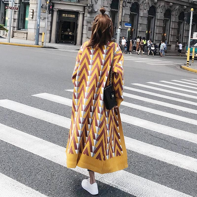 Spring and Autumn Fashion Striped Knitting Trench Coat Women Street Style Gold Open Stitch Loose Casual Trench