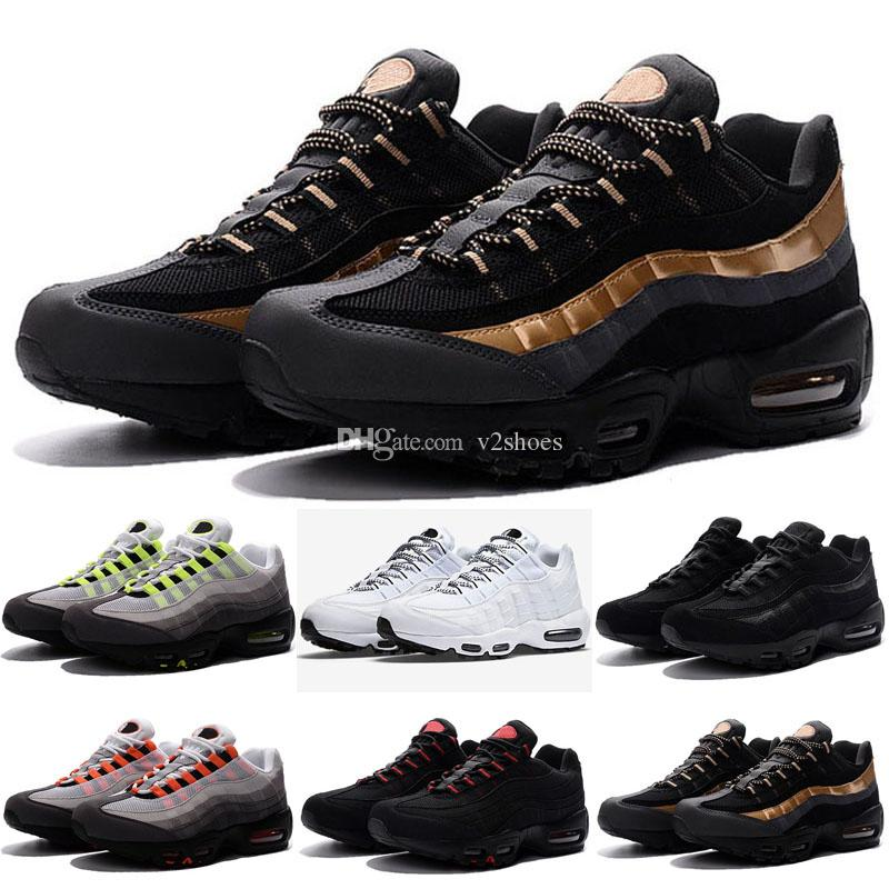 premium selection 4b9cb 7a495 2019 New Men Running Shoes 95 Black Gold Red 95s Chaussures White Designer  Trainer Sports Mens Maxes Zapatos Sneakers Size 5.5-12