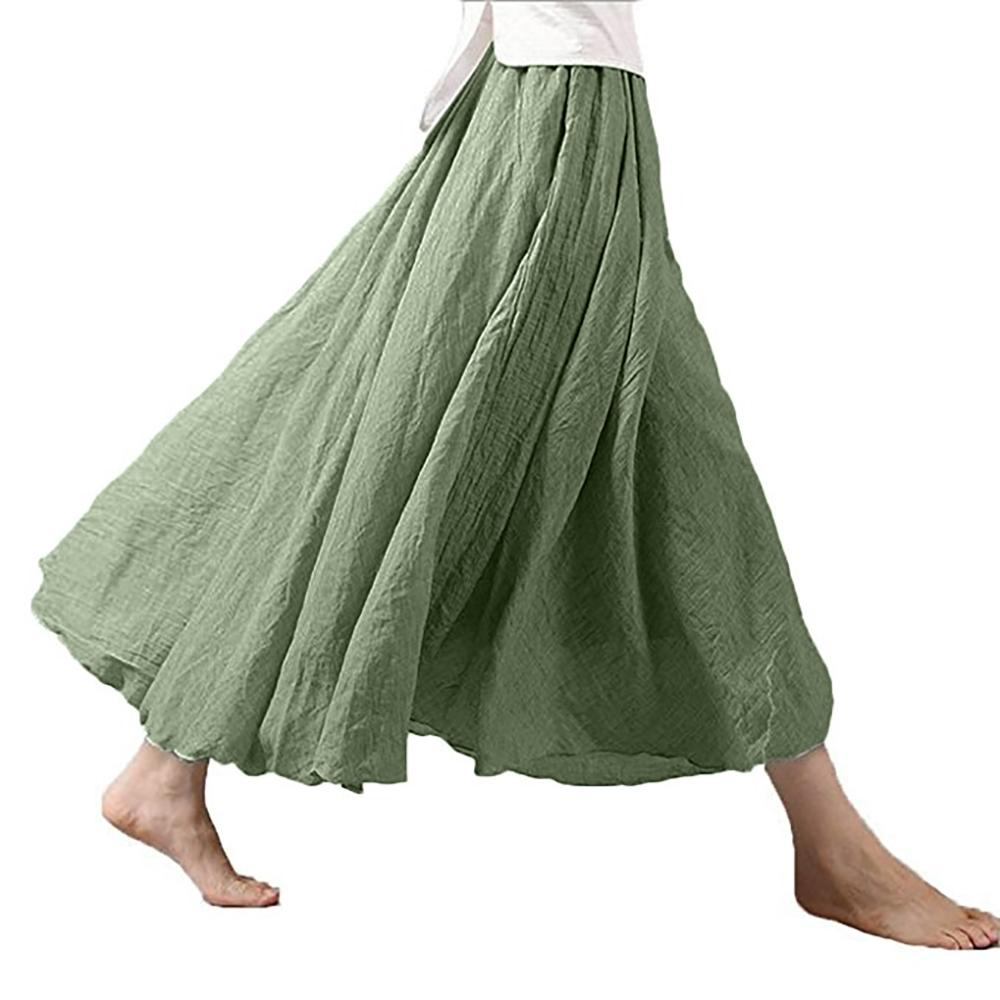 ae78c7b1e 2019 Women Linen Cotton Long Maxi Skirts Solid Color Elastic Waist Pleated  Beach Boho Elegant Skirts Female Saia From Weskit, $31.88 | DHgate.Com