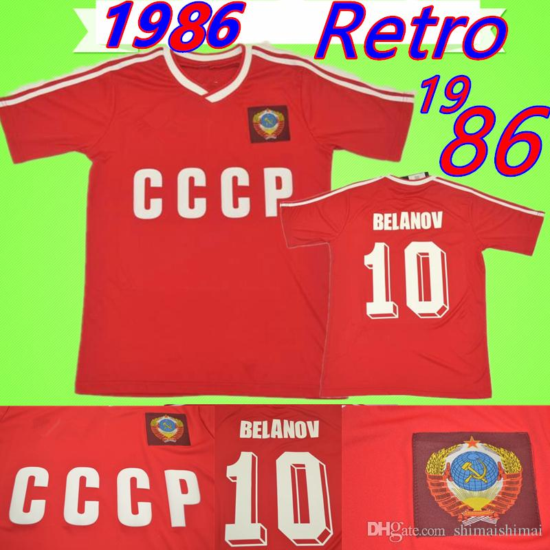 09a091fc44f 2019 1986 1987 USSR Home Red Soccer Jersey CCCP #10 BELANOV Soviet ...