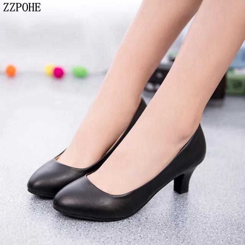 f236d18597512 Compre Zapatos De Vestir De Diseñador Tallas Grandes 2019 Primavera Otoño  Moda OL Oficina Dama Mujer Cuero Tacones Altos Boda Mujer Bombas Cómodas A   23.5 ...