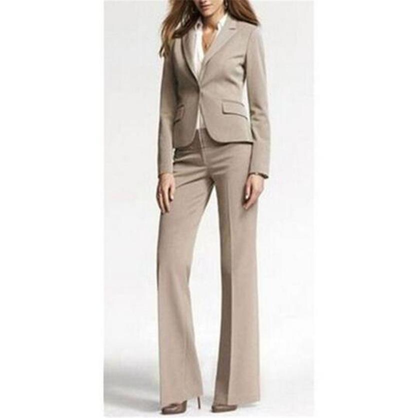 ec91bae9857c54 Femmes 2 pièces pantalon ensemble travail féminin Blazer pantalon costume  blanc dames slim fit pantalons de costume costumes élégant Business Set ...
