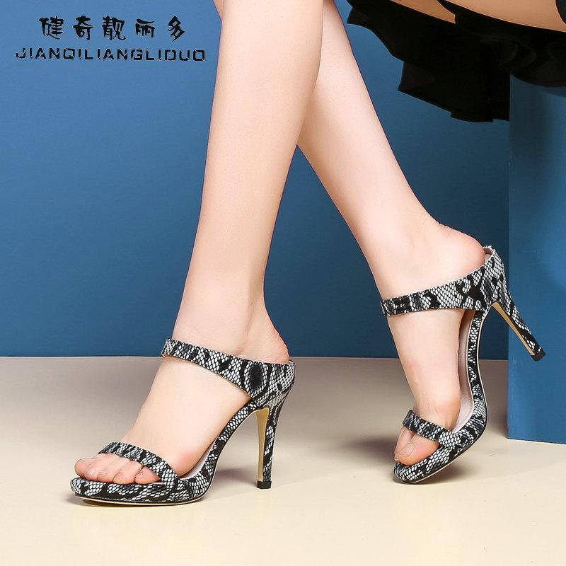 2055d6139aa Sexy Woman High Heel Slides Slippers Snake Skin Slip On High Heel Gladiator  Sandals Stiletto Heels Beach Flip Flops Fur Boots Glass Slipper From  Gaoshoe