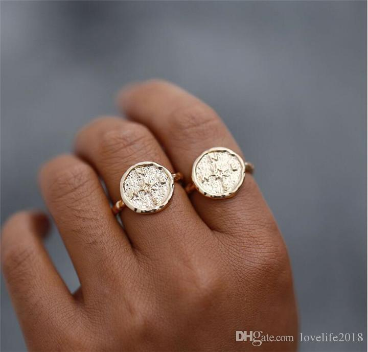 Boho Gold Color Hammered Travel Wanderlust Compass Ring Vintage Best Friends Rings For Women Men Gradution Gift T468