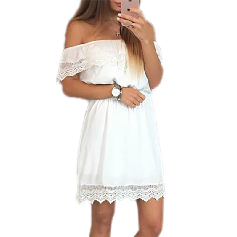 cf91523e56 2019 Women Lace White Black Dresses Sleeveless Slash Neck Ruffles Beach  Summer Dress Sexy Sundress Casual Party Dress LX302 Online with   37.61 Piece on ...