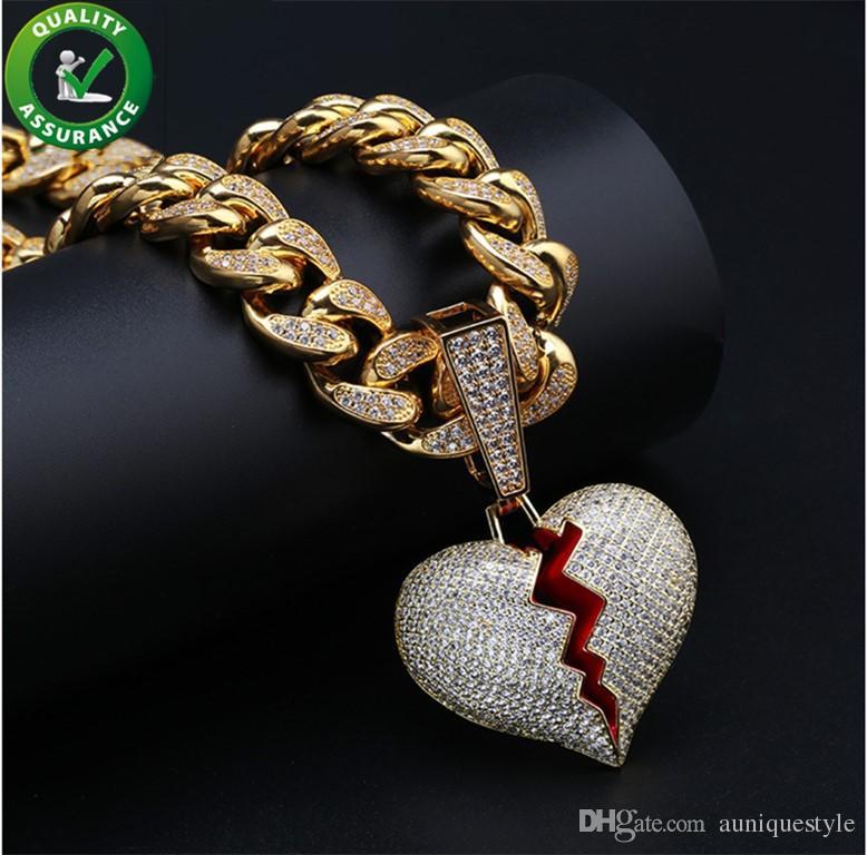 2d0c48179b3d Collar de diseñador de joyería de hip hop helado hacia fuera colgante cadena  de eslabón cubano oro diamante romper corazón colgantes de lujo encanto del  ...