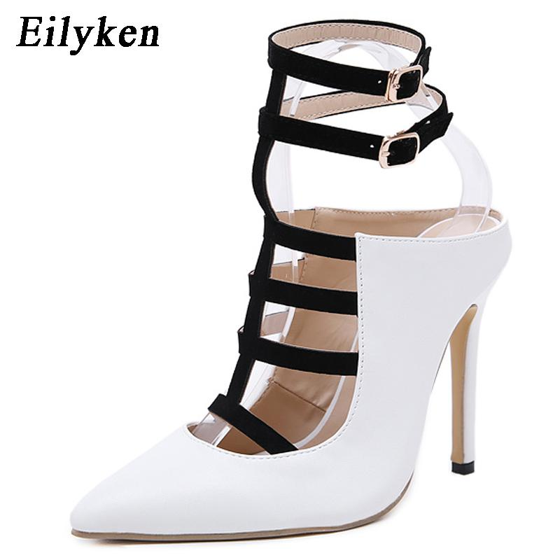 2019 New Design White High Heels Pumps Sandals 12cm Fashion Pointed Toe Buckle Strap Gladiator Thin Heel Woman Shoes