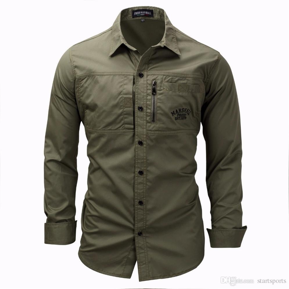 753cd1032 2019 Men Shirt Military Mens Long Sleeve Slim Fit Camisa Masculina Khaki  Army Green Shirt High Quality Men #388374 From Startsports, $47.27 |  DHgate.Com