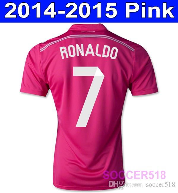 separation shoes a89dc 2317e 2014 2015 Real Madrid pink camisas de futebol retro soccer jersey jerseys  RONALDO maillot retro football camisetas de fútbol retro jersey