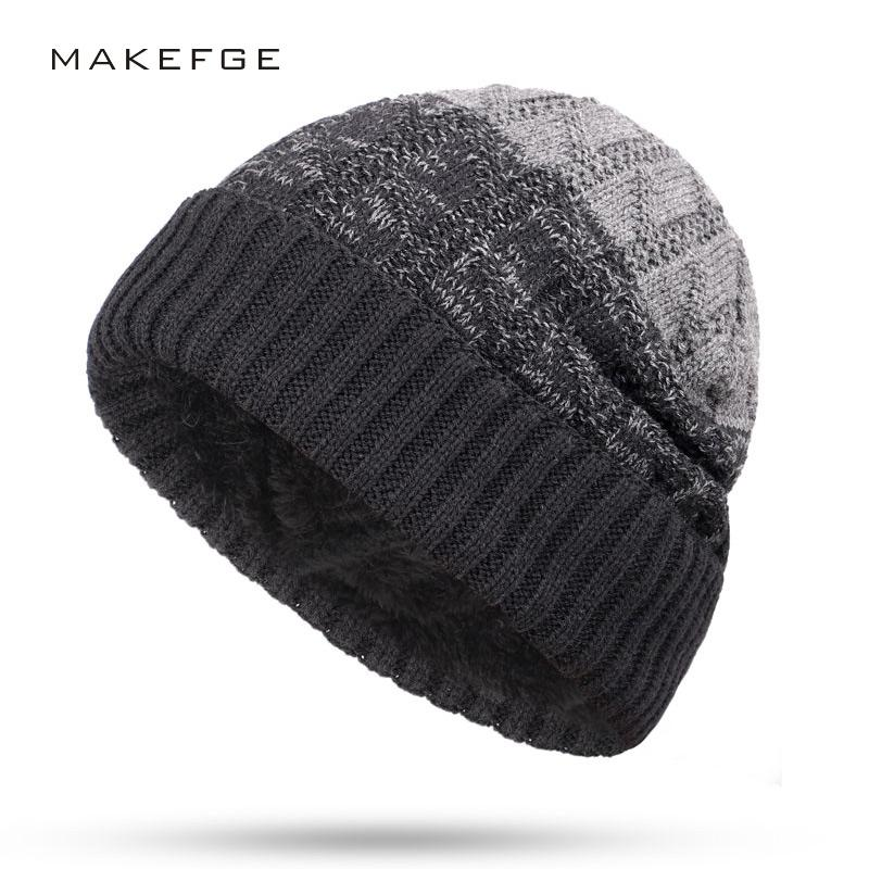 4932213fc0c New Knitted Men s Hats Velvet Thick Warm And Comfortable Male Winter Caps  Unisex Man Skullies Slouchy Beanie Gorros Invierno High Quality Skullies    B ...