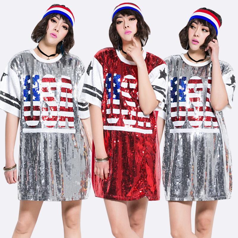 f2eb836be Compre 2019 Nuevo Diseñador América Hip Hop Glitter Camiseta Suelta Día  Nacional De Estados Unidos Celebre La Fiesta Navideña EE. UU.
