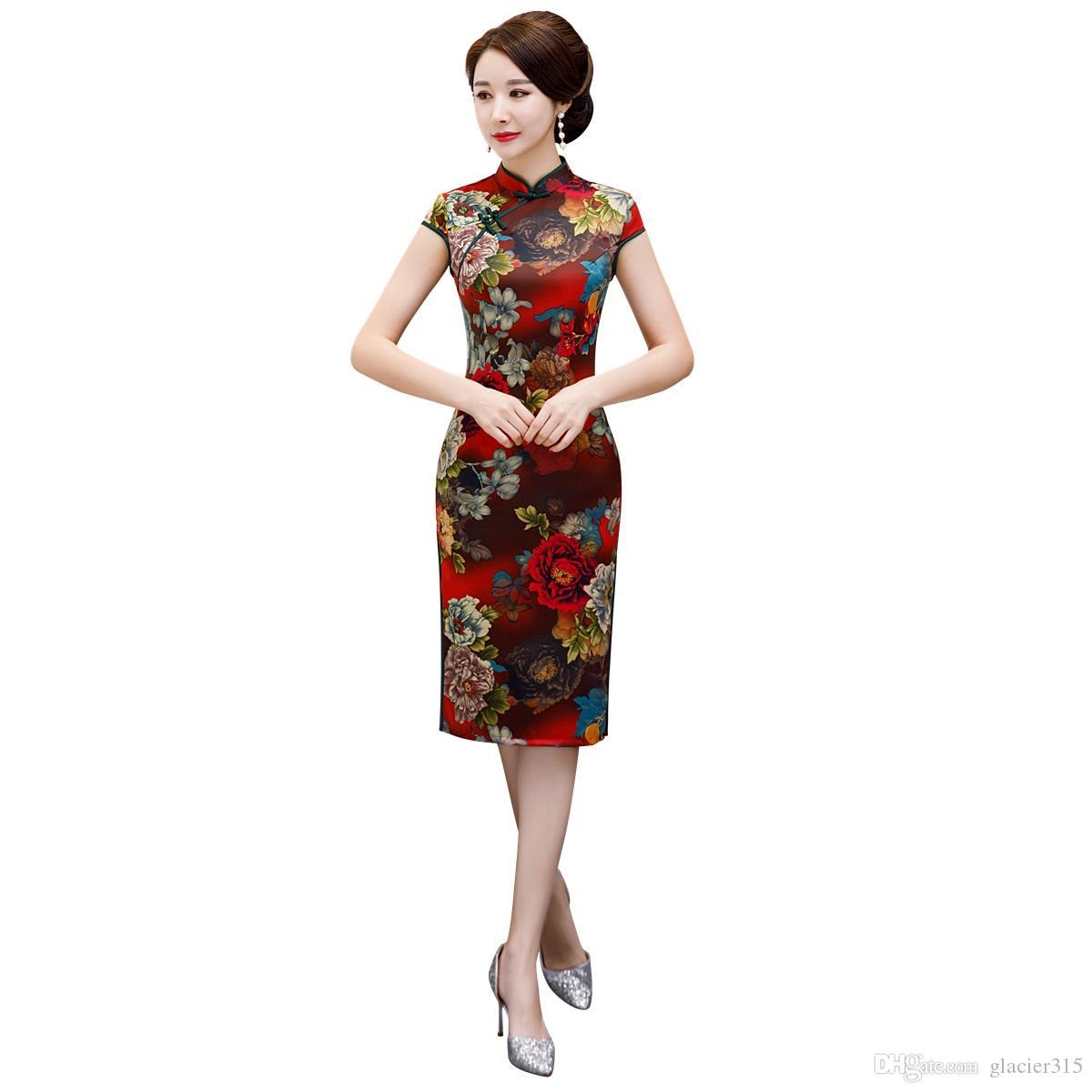 Shanghai geschichte floral qipao chinesisches traditionelles kleid knielangen chinesische damenbekleidung faux seide cheongsam für frauen