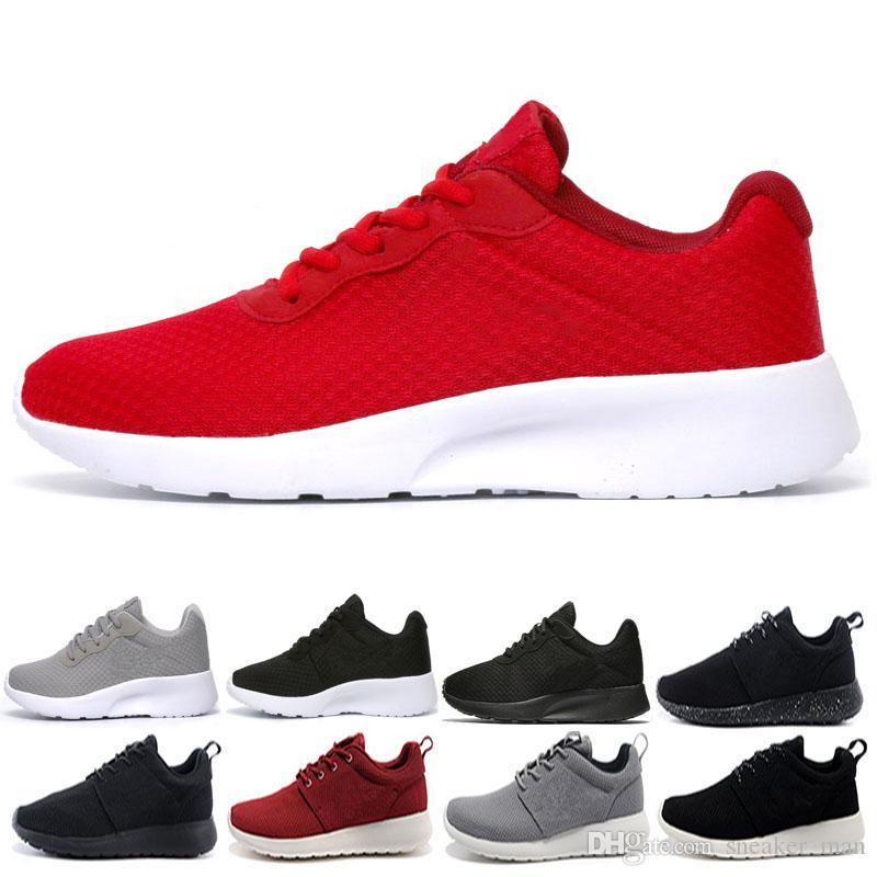 d21915bc0f847 Compre Nike Roshe Run Tanjun London 1.0 3.0 Run Hombres Mujeres Zapatos Para  Correr Olímpico Rosa Negro Rojo Blanco Gris Azul Al Aire Libre Caminando ...