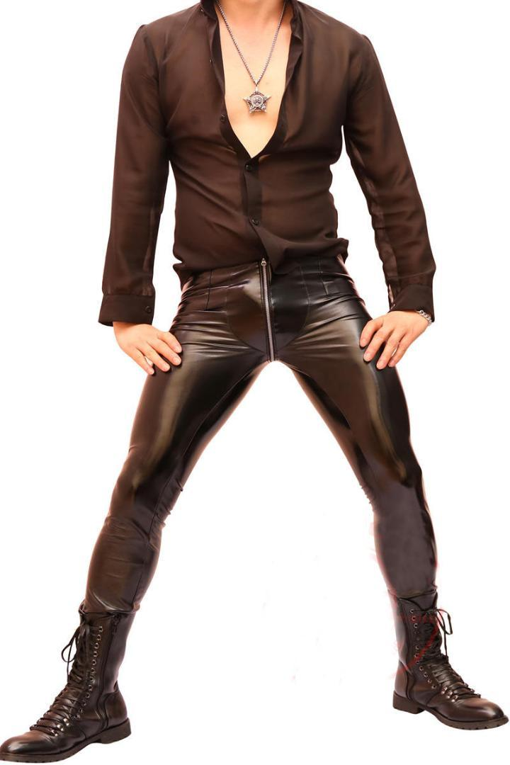 8825dca777597 2019 2019 Men Super Sexy Faux Leather Pants Tights Slim Fit Trousers Zip  Crotch Elastic Nightclub Stylish New From Mujing, $73.6 | DHgate.Com