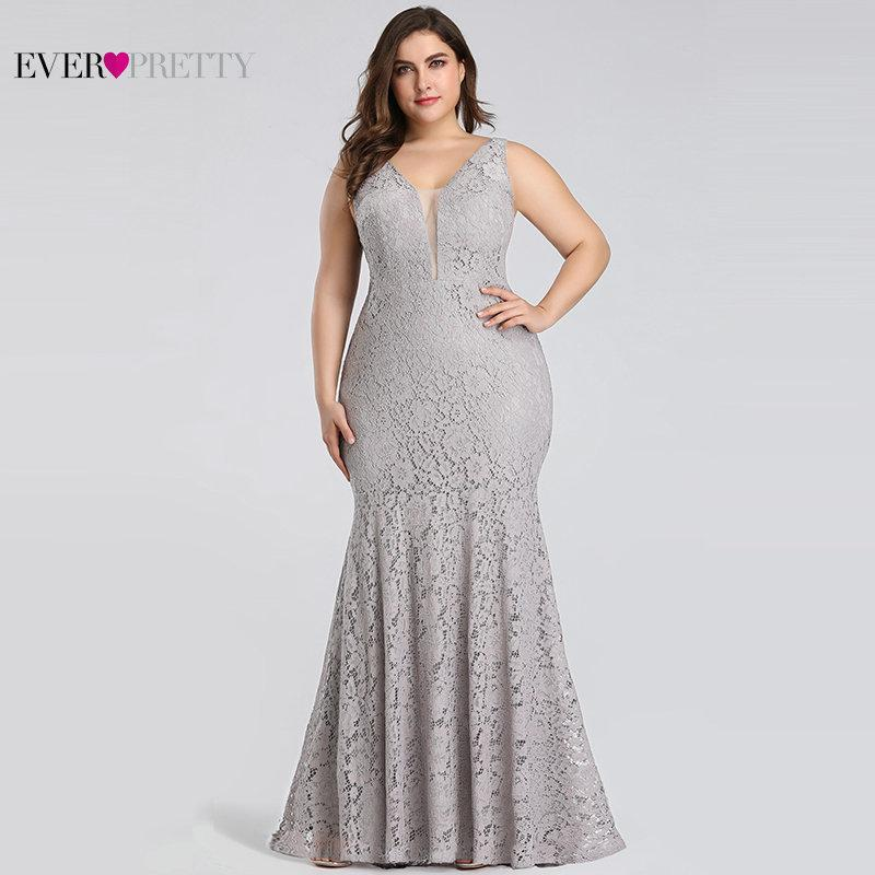 2019 Plus Size Prom Dresses Ever Pretty Ep08838 Elegant Mermaid Lace ...