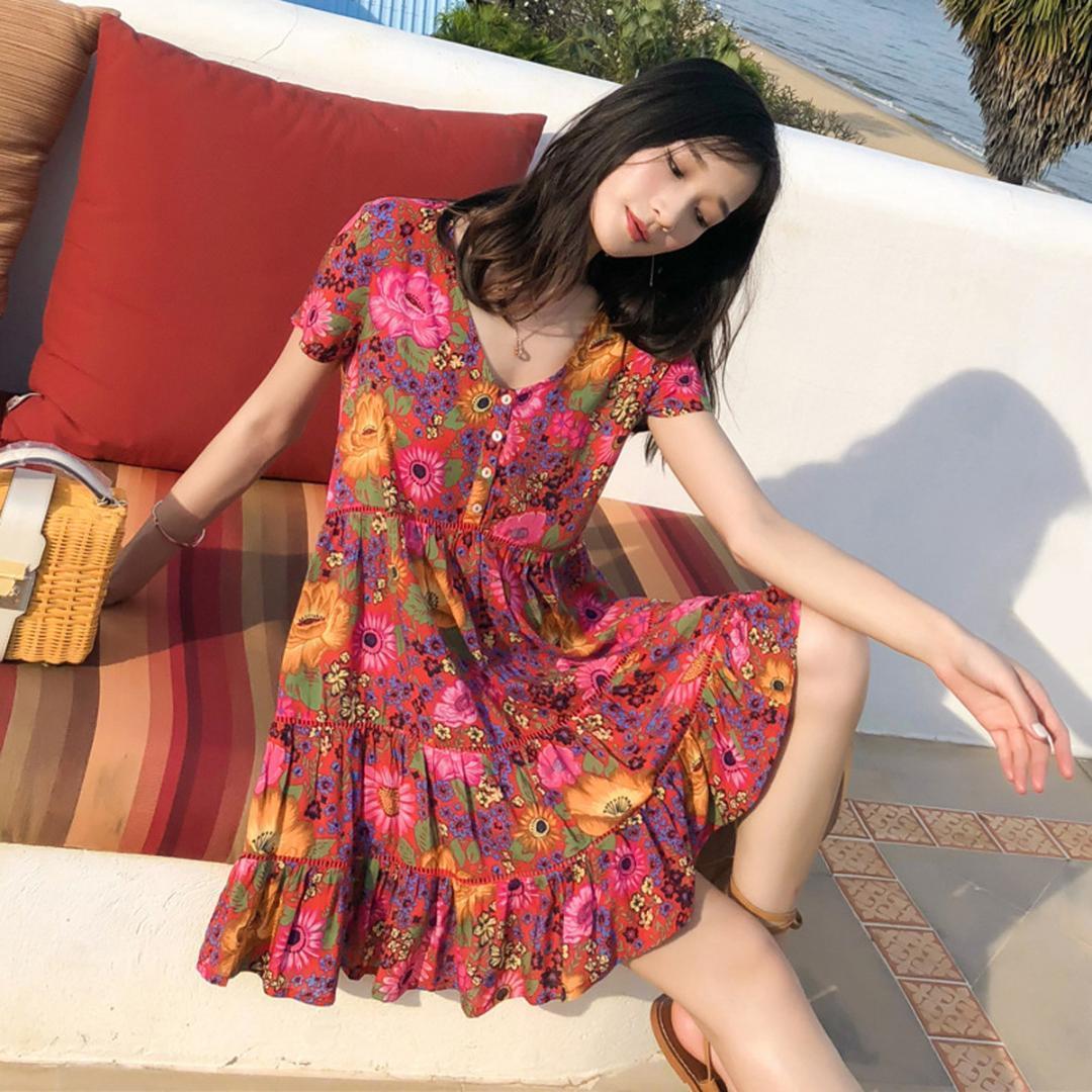 35296a387f46e Satın Al Jastie 2019 Boho Elbise Papatya Çiçek Baskı Yaz Elbiseler V Yaka  Düğme Ön Rayon Mini Kadın Elbise Bohemian Chic Plaj Vestidos, $46.63    DHgate.