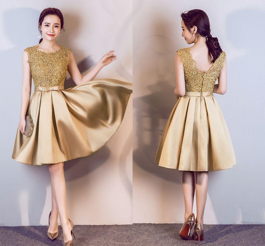 Vestidos de graduacion dorados cortos