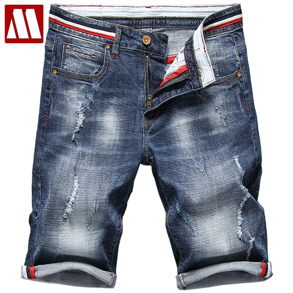 c87a8017ce Man's Flexible Denim Shorts For Summer Men Cotton Holes Short Jeans New  Fashion Male Knee Length Blue Short Jeans Plus Size 40