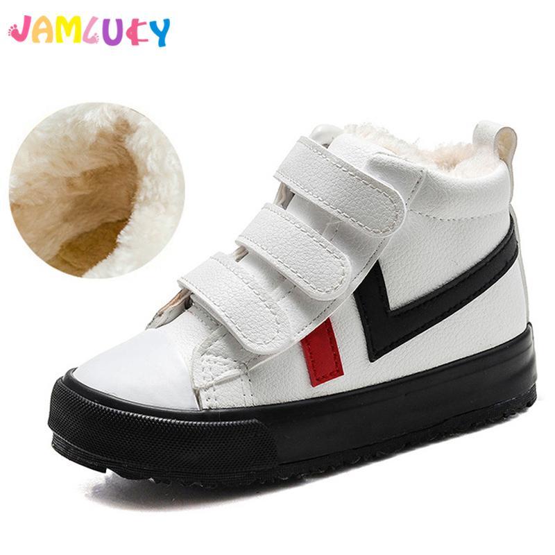 fa1280152bd Compre Zapatos De Invierno Para Niños Niños Deportes De Nieve Zapatillas De Deporte  Para Niñas Zapatos Planos De Cuero De PU Goma Moda Felpa Niños Cálidos ...