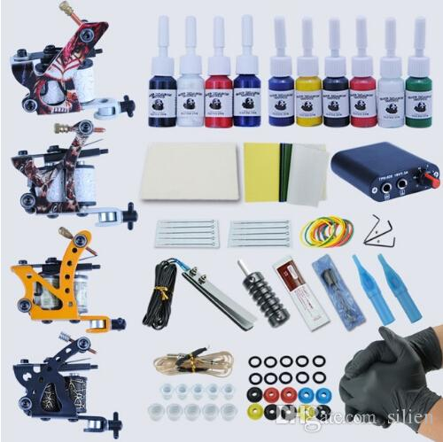 Professional Complete Tattoo Kit Tattoo Machine 4pcs Liner Shader 10 Color Immortal Ink Set Power Box Grip Tip