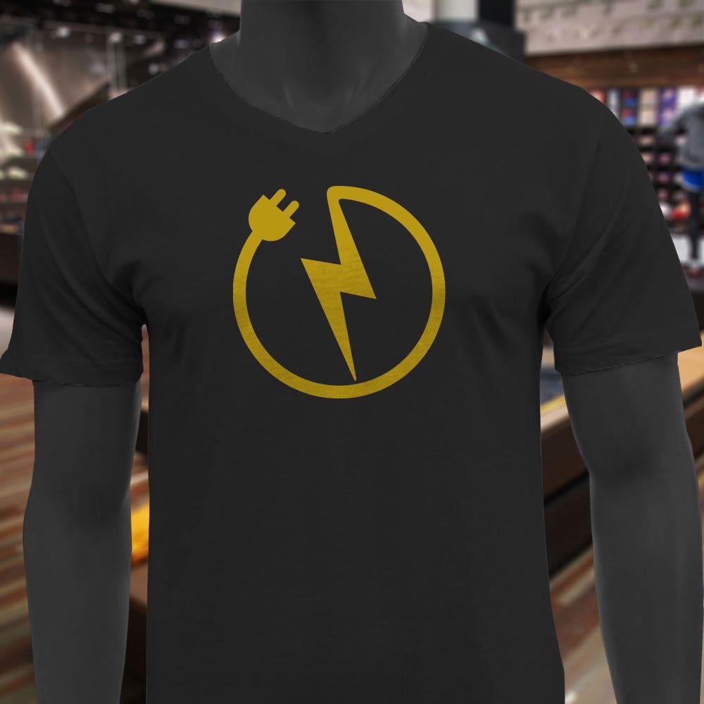 f05ee3c5 Electrician Symbol Lightning Bolt Power Humor Pun Mens Black V-Neck T-Shirt  T-shirt Men Boy Demin Short Sleeve Crewneck Cotton 3XL Couple T-
