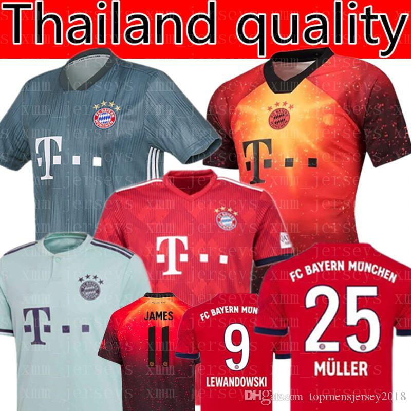 1586e1f9e36 Bayern Munich Müller 25 LEWANDOWSKI 9 Soccer Jersey 2019 RIBERY 7 ...