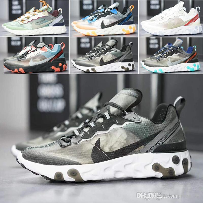 nike Air max Epic React Element 87 AIR React Element Undercover casual para hombre mujer diseñador zapatillas Royal Tint negro Desert Sand Blue Chill