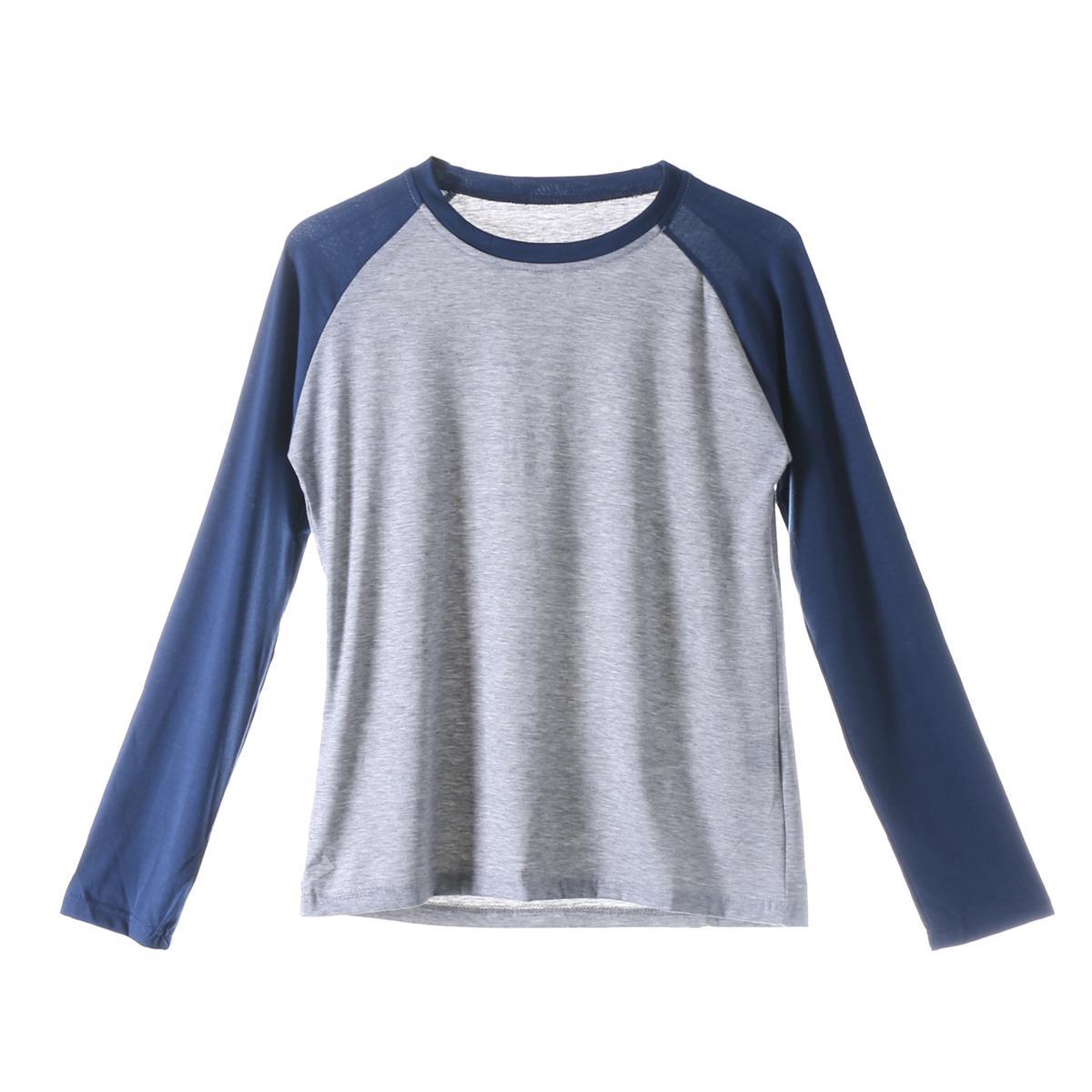 Courir T-shirts manches longues uni Baseball Raglan T-shirt T des hommes de sport d'équipe 5 couleurs R Neck U